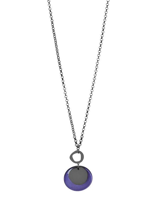 Purple Pendant Statement Necklace, Purple, hi-res