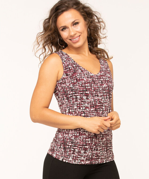 V-Neck Essential Layering Tank, Wine, hi-res