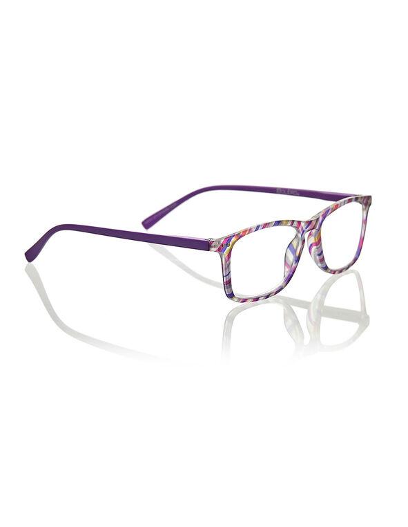 Purple Printed Reader, Purple, hi-res