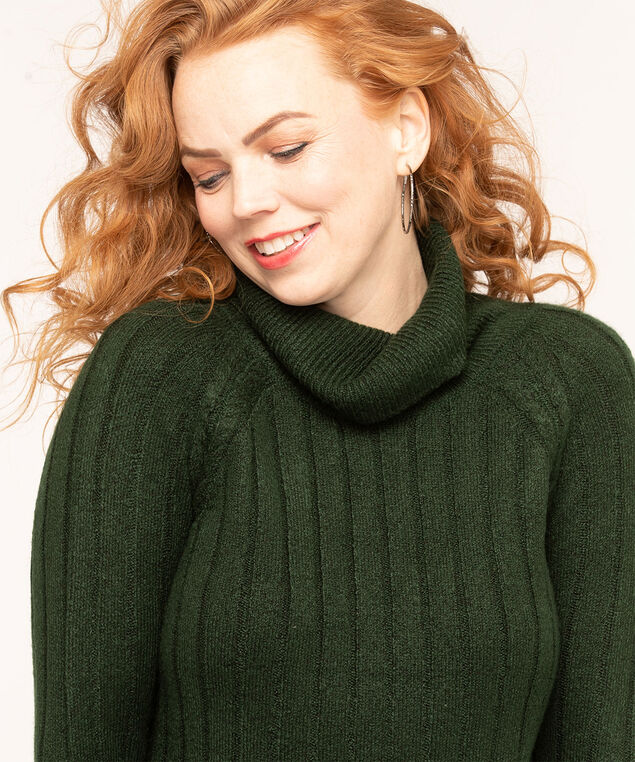 Green Turtleneck Fooler Sweater, Forest Green/Ivory