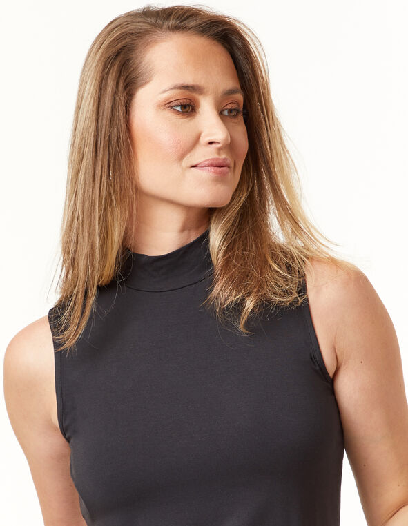 Knit Mock Neck Top, Black, hi-res
