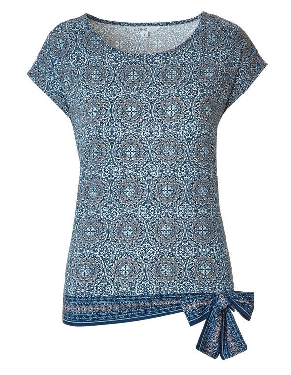 Blue Printed Side Tie Top, Blue Print, hi-res
