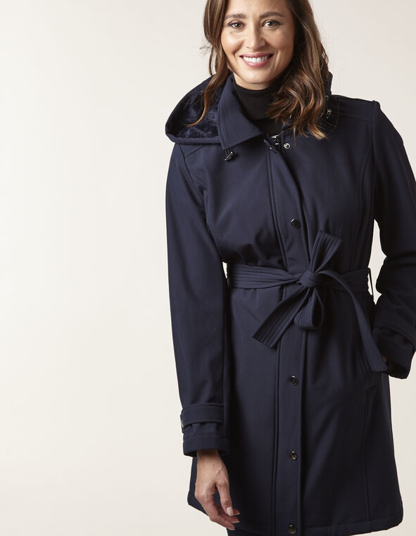 Navy Softshell Trench Coat, Navy, hi-res