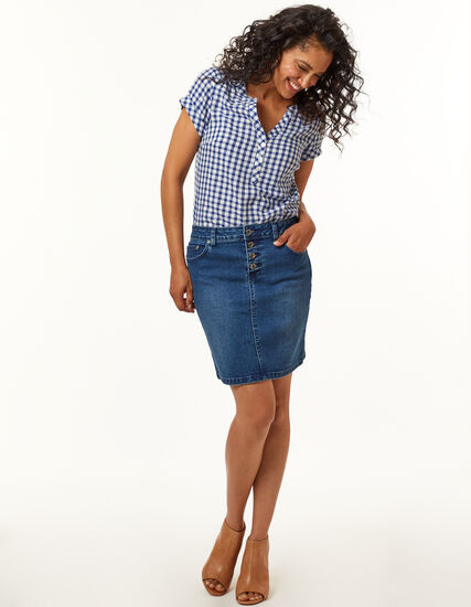 Mid Wash Jean Skirt, Mid Wash, hi-res