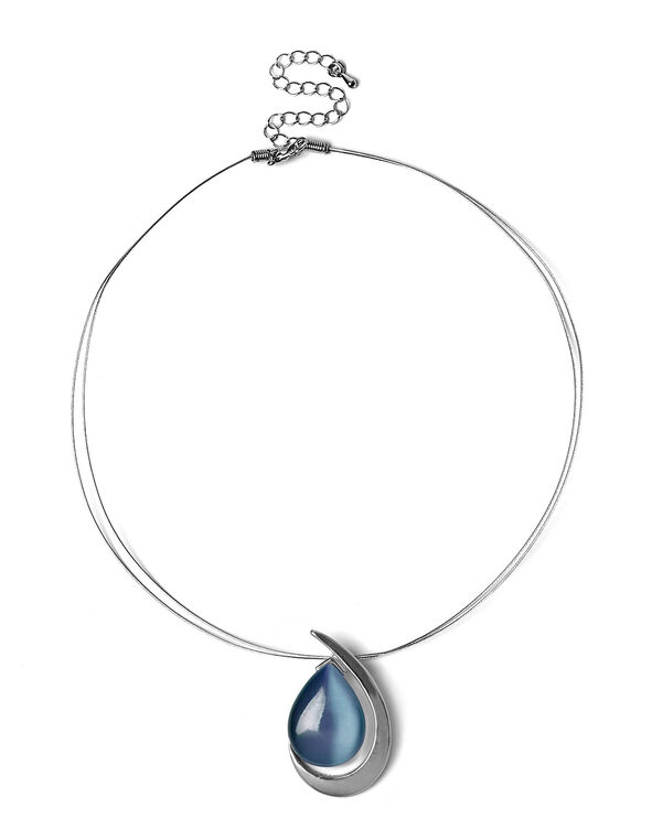 Short Wire Blue Cat Eye Necklace, Blue, hi-res