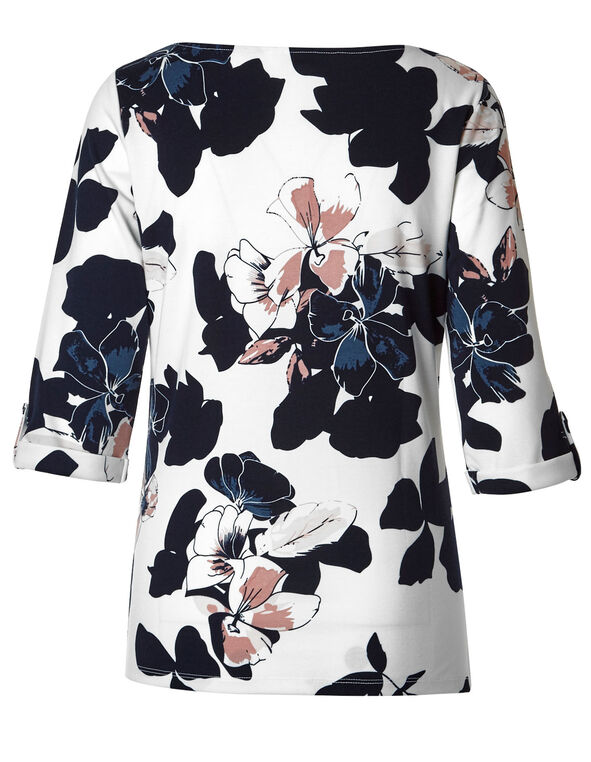 White Floral Elbow Sleeve Top, White, hi-res