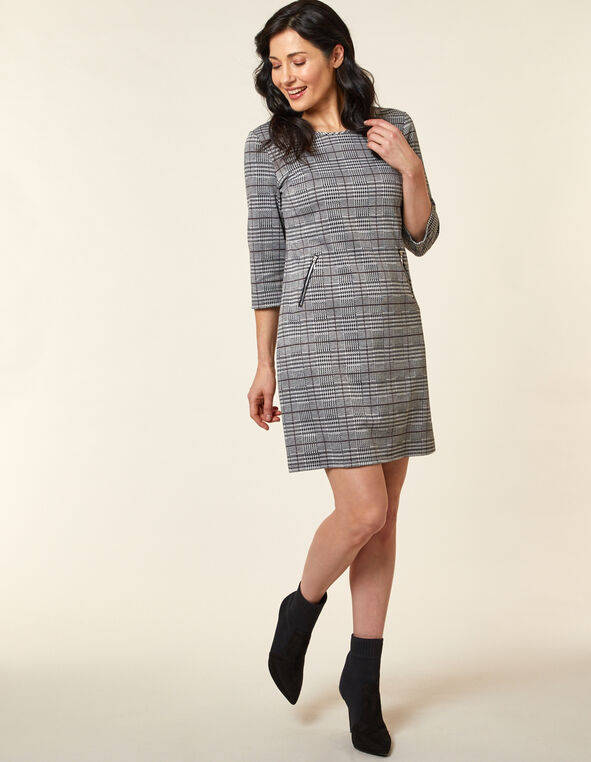Light Grey Zip A-Line Knit Dress, Grey, hi-res