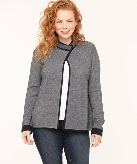 Long Sleeve Sweater Jacket, Navy, hi-res