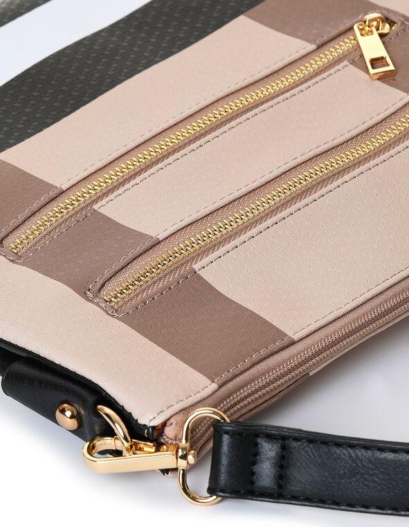 Brown Plaid Crossbody Bag, Neutral/Brown, hi-res