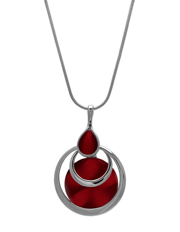 Long Red Cat Eye Pendant Necklace, Red, hi-res
