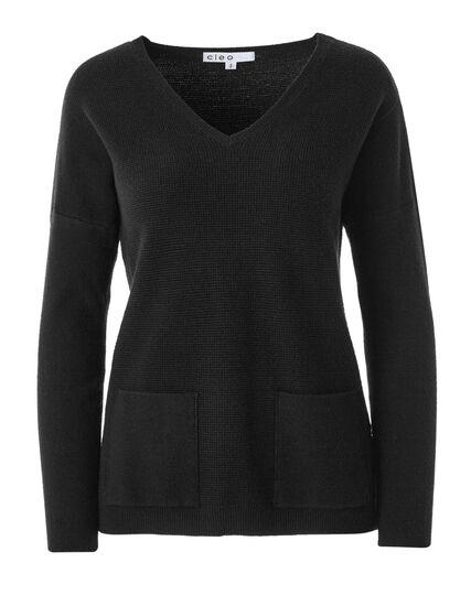 Black Front Pocket Pullover, Black, hi-res