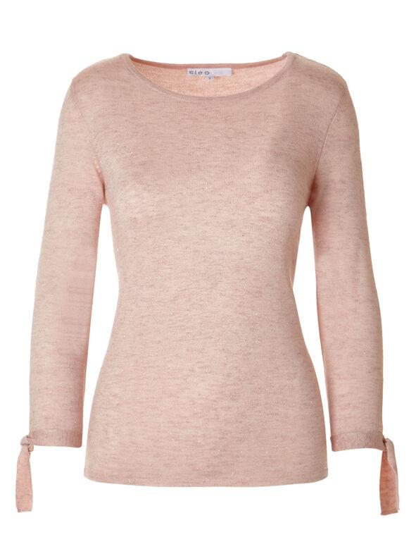 Soft Blush Tie Pullover Sweater, Soft Blush, hi-res