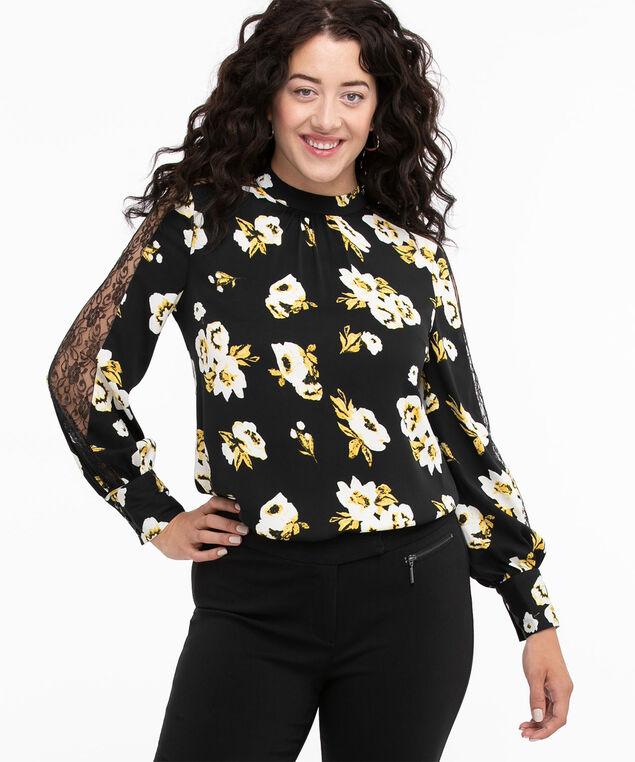 Lace Sleeve Mock Neck Blouse, Black/Ivory/Ochre Floral