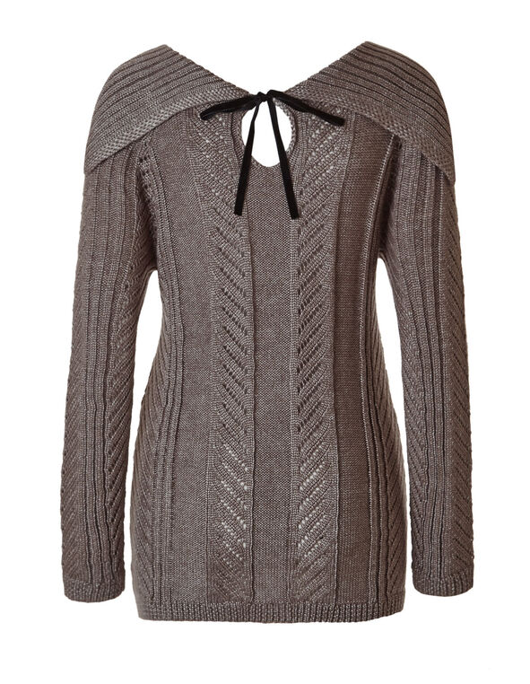 Light Taupe Marilyn Tie Back Sweater, Light Taupe, hi-res