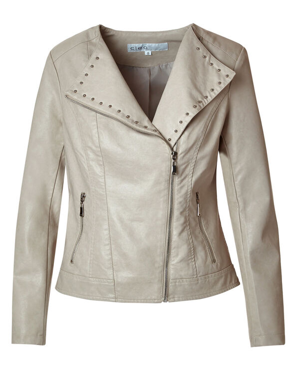 Neutral Moto Faux Leather Jacket, Neutral, hi-res