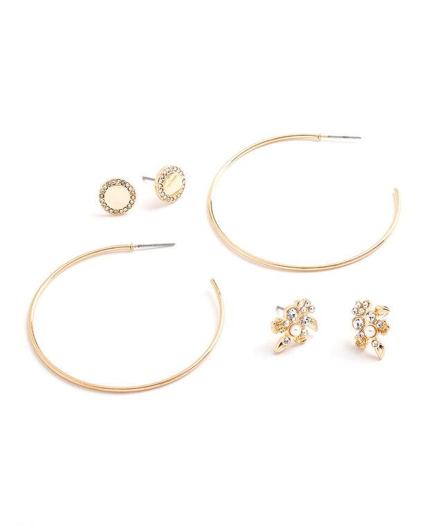 Gold Crystal Stud & Hoop 3-Pack, Gold