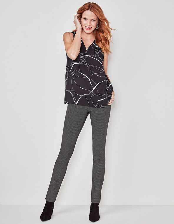 Black Printed Signature Skinny Pant, Black, hi-res