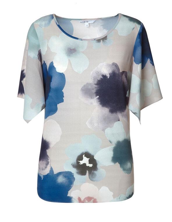 Stone Blur Floral Blouse, Stone/Blue, hi-res