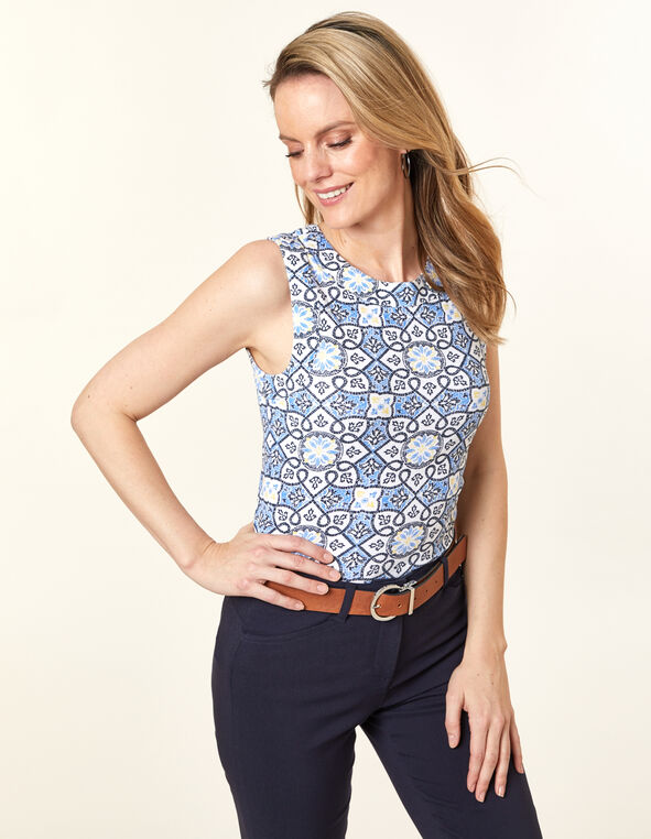 Blue Tile Button Tee, Blue, hi-res