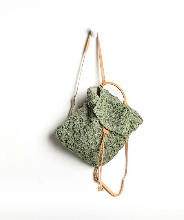 Crochet Drawstring Backpack, Sage