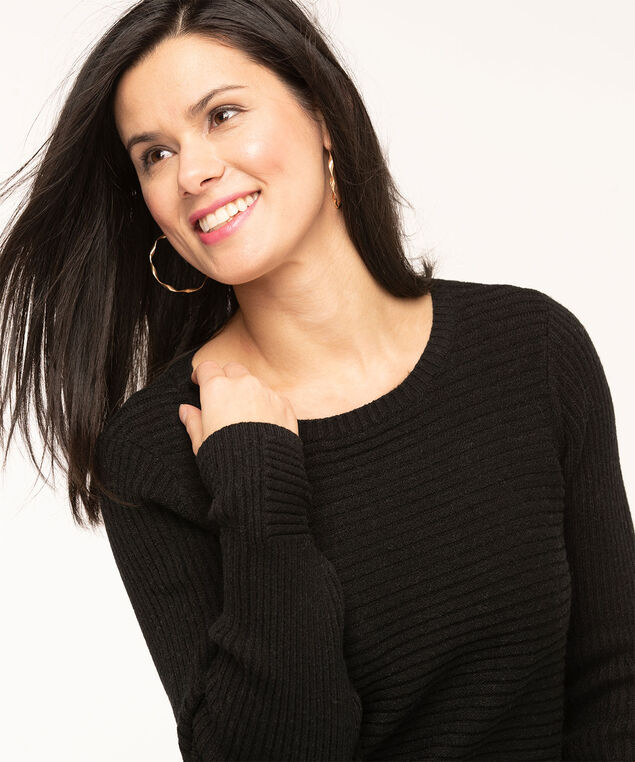 Black Ribbed Scoop Neck Sweater, Black, hi-res
