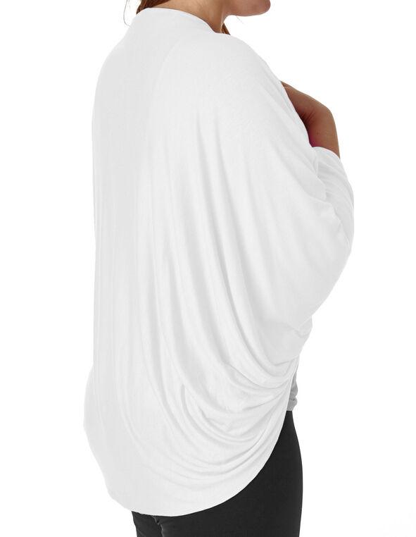 White Bubble Sleeve Cardigan Top, White, hi-res