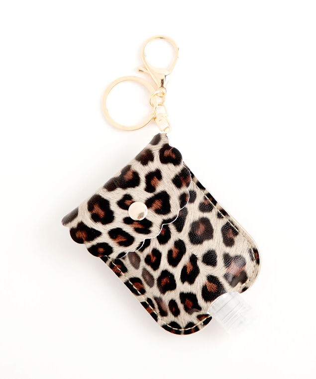 Leopard Print Sanitizer Pouch, Brown/Black Leopard