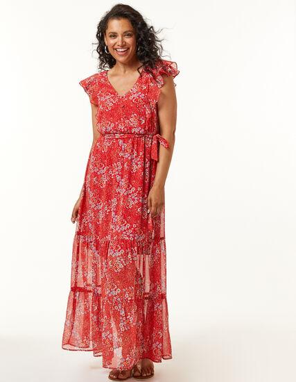 Floral Ruffle Maxi Dress, Coral, hi-res