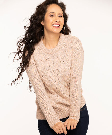 Mixed Yarn Cable Knit Sweater, Ballet Pink Mix, hi-res