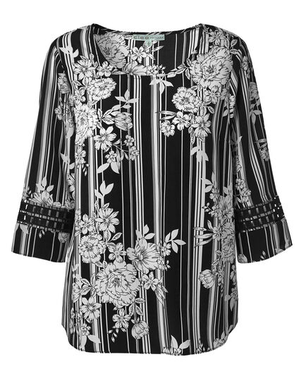 Black Floral Striped Blouse, Black/White, hi-res