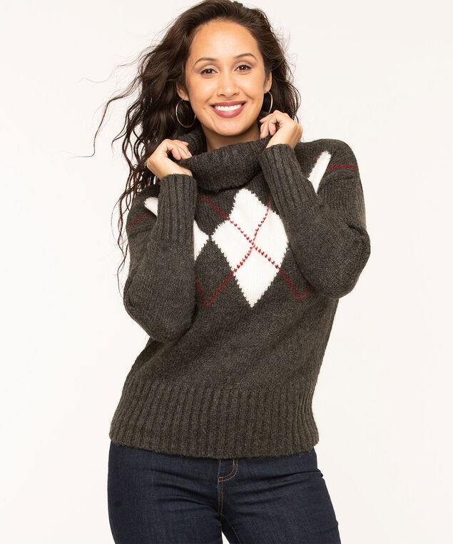 Charcoal Argyle Turtleneck Sweater, Charcoal/Ivory/Wine, hi-res