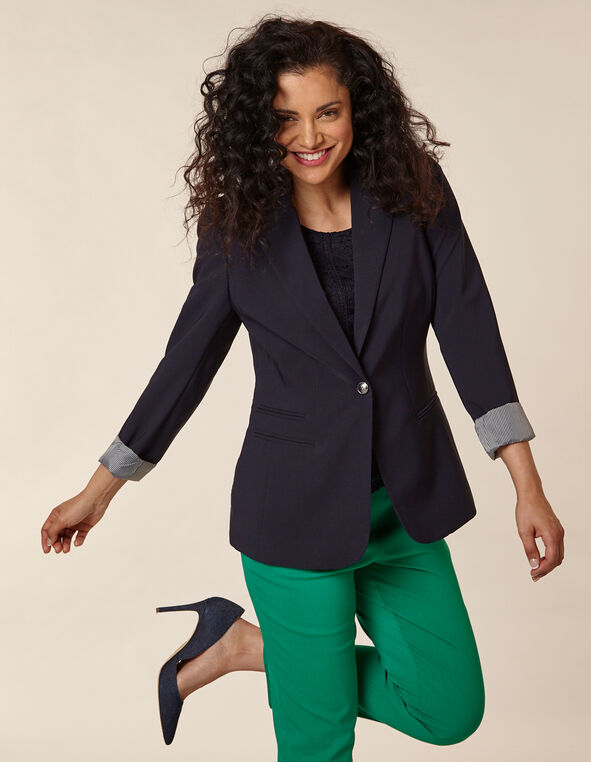 Navy Button Blazer, Navy, hi-res