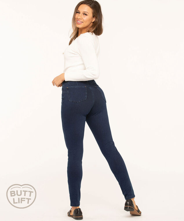 Denim Knit Butt Lift Skinny Jean, Mid Wash Blue, hi-res