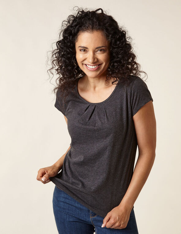Charcoal Scoop Neck Tee, Charcoal, hi-res