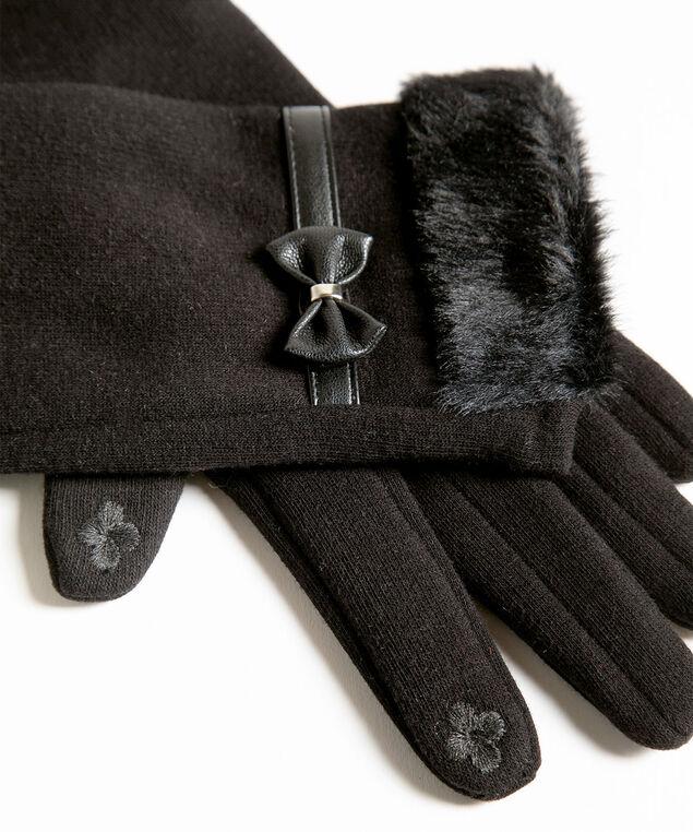 Black Bow Trim Gloves, Black, hi-res