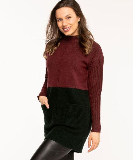 Wine Colour Block Tunic Sweater, Wine/Black, hi-res