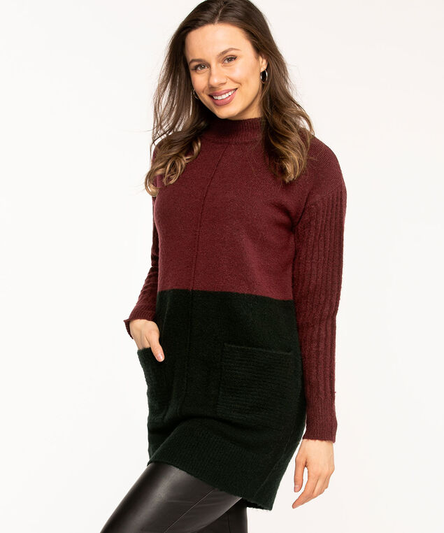Wine Colour Block Tunic Sweater, Wine/Black