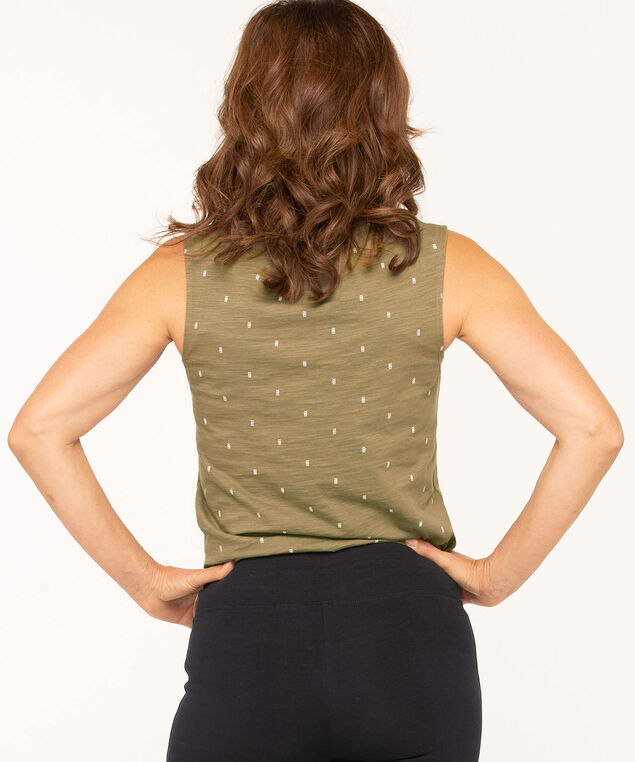 Sleeveless Peasant Style Knit Tee, Olive/White, hi-res