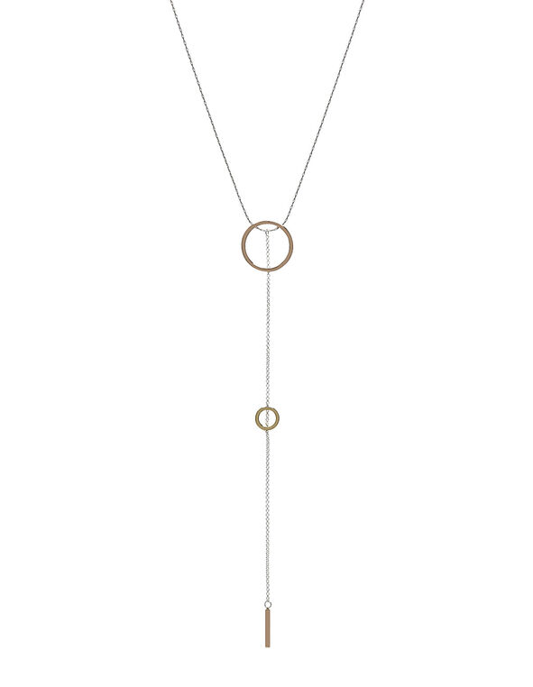 Silver Lariat Necklace, Silver/Rose Gold, hi-res