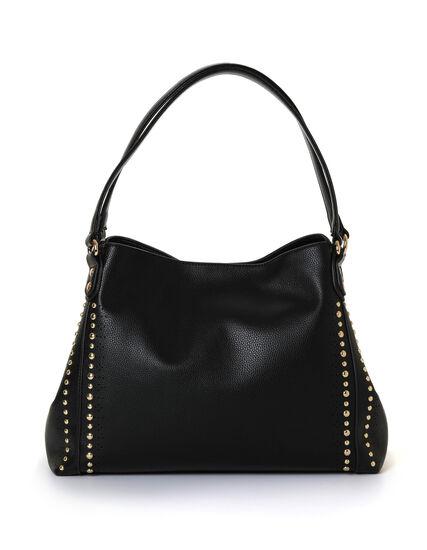 Black Studded Hobo Handbag, Black, hi-res