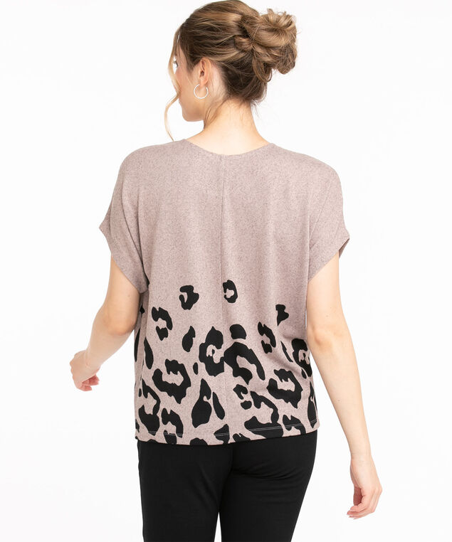Recycled Scoop Neck Hacchi Top, Soft Pink/Grey Animal Print