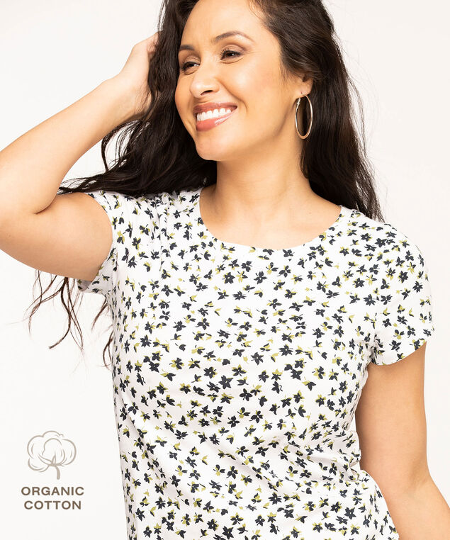 Organic Cotton Scoop Neck Tee, White/Black Floral