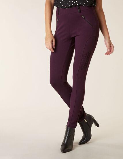 Purple Moto Pull On Legging, Purple, hi-res