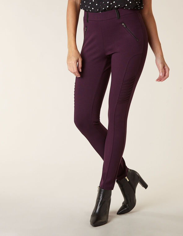 Purple Moto Pull On Legging, Purple, hi-res