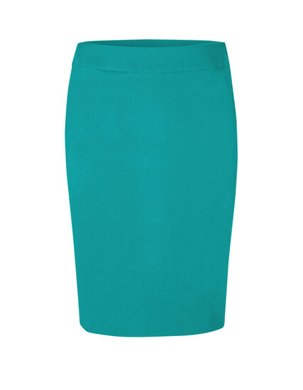 Turquoise Pull On Pencil Skirt, Turquoise, hi-res