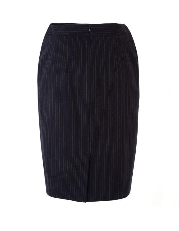 Navy Striped Soft Pencil Skirt, Navy, hi-res