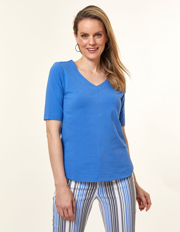Cornflower Solid Tulip Tee, Blue/Cornflower, hi-res