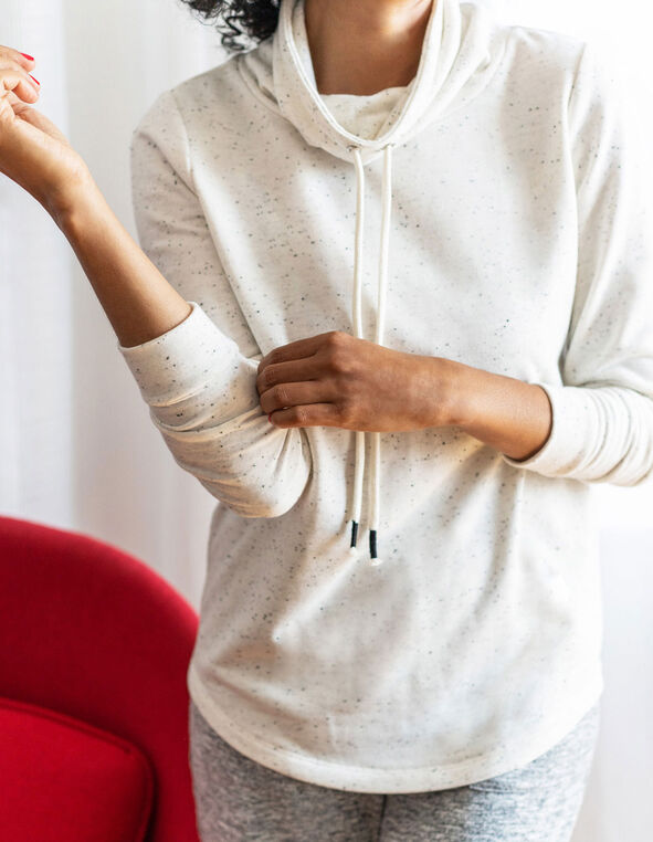 Ivory Mix French Terry Pullover, Ivory, hi-res
