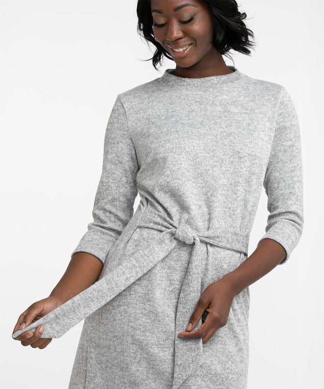 Knit Mock Neck Midi Dress, Light Grey