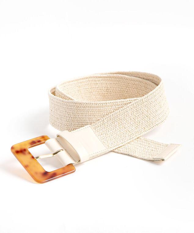 Ivory Braided Stretch Belt, Ivory